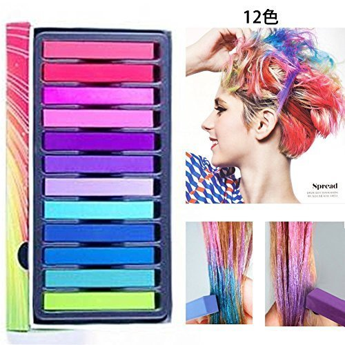 Hair Chalk Set, 12 Hair Dye Colors Non-Toxic Washable Temporary Hair Chalk for Girls Kids Party Cosplay by LDREAMAM