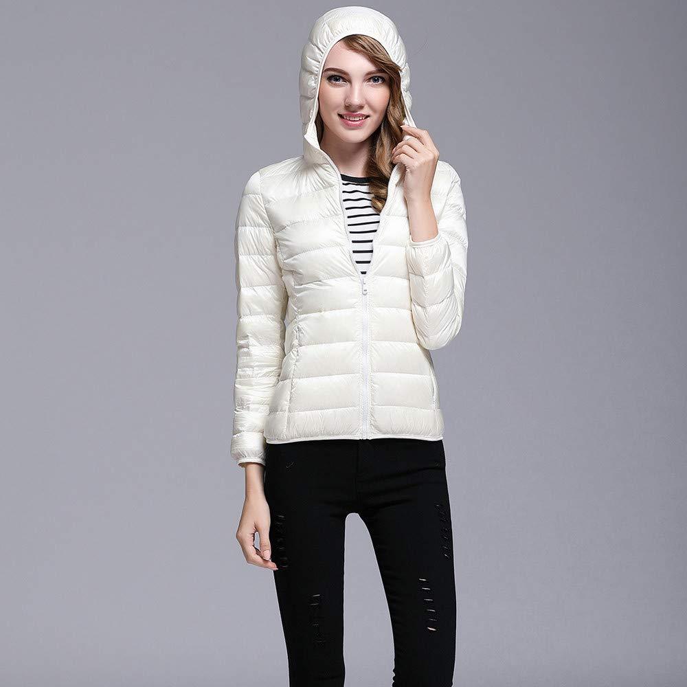 Muranba◕ᴗ◕ Womens Coat Outwear Outerwears Women Ultra Light Puffer Jacket Solid Hooded Zippers Puffer Coat Down Jacket