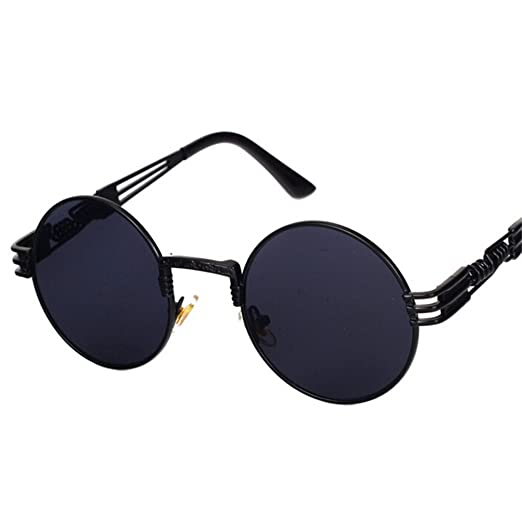 d7f70a487 Steampunk Mirror Sunglasses Gold and Black Sun Glasses Peekaboo Vintage  Retro Gothic (Black frame black
