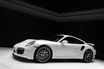 Porsche 911 991 Turbo S Left Side White HD Poster Super Car 18 X 12 Inch