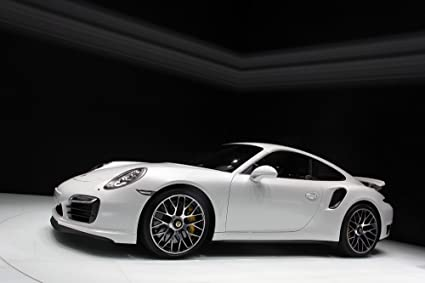 Porsche 911 991 Turbo S Left Side White HD Poster Super Car 24 x 16 Inch