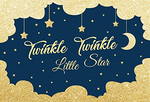 OFILA Twinkle Twinkle Little Star Backdrop 5x3ft Moon and Stars Background Sparkling Shoots Baby Shower Theme Party Decoration Kids Birthday Shoots Newborn Baby Photography Video Studio Props