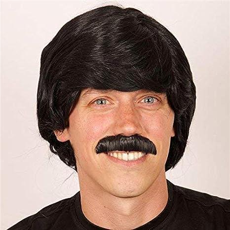 Perruque homme noir avec moustache: Amazon.