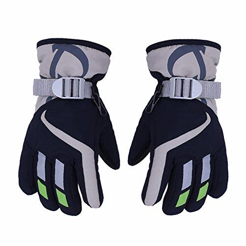 AONIJIE Children's Ski Gloves Waterproof Windproof Warm Lining Outdoor Sports Snow Gloves For 5-10 Years Old Boy &Girls-Navy Blue