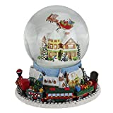 Northlight 7.25'' Musical Revolving House Santa Train Christmas Glitterdome Decoration