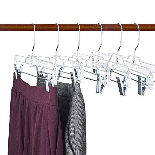 Titan Mall 14 inch Skirt Hangers, Pants Hangers, Trouser Hangers, Clothes Hangers, Clear Hangers, Plastic Pant Hangers with Clips (12 PCS)