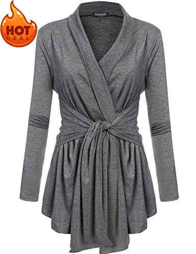 Belted Wrap Sweater - ACEVOG Womens Open Front Drape Hem Lightweight Long Sleeve Knit Cardigan (S-3XL) Dark Grey M