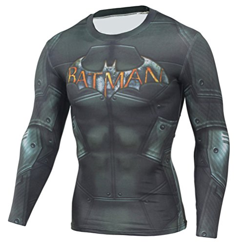 (HOCOOL Mens Long Sleeve Compression Shirt,Bat Men Quick-Dry Sports Running T-Shirt XL)