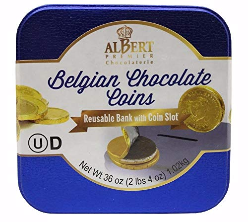 Albert Belgian Chocolate Coins 36 Oz Reusable Bank