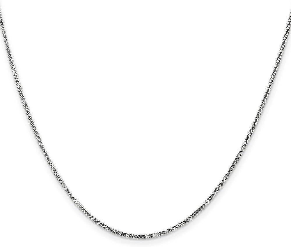 Brilliant Bijou 14k Solid White Gold Curb Pendant Chain Necklace