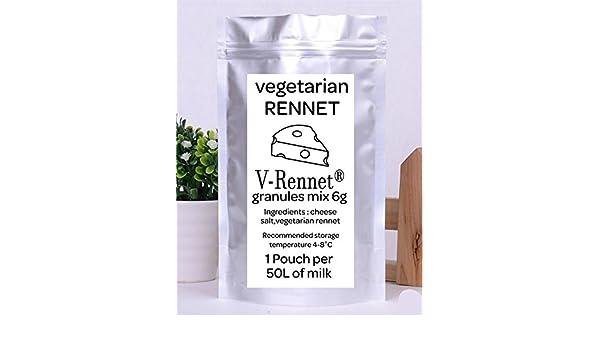 v-rennet mezcla de gránulos 6 g Pack vegetariana cuajo y queso salero mezcla para 50 l leche