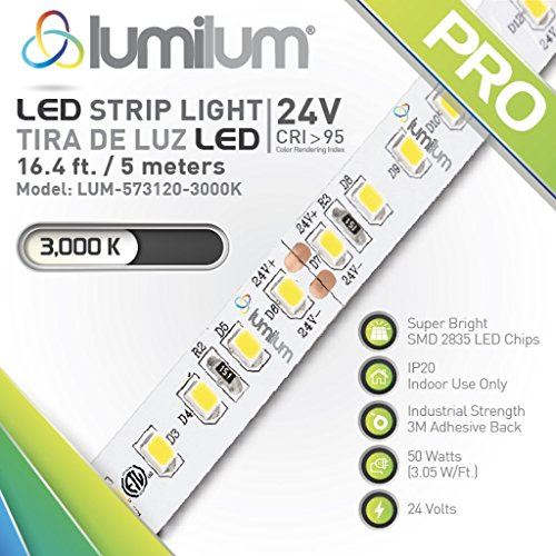 Lumilum 16,4ft (5m) LED Strip Light 24V Series (3000K Warm White) SMD 2835 chips, 95 High CRI, Fully Certified, Commercial Grade, 50,000 hours Rated, Dimmable, IP20 for Indoor Interior Use
