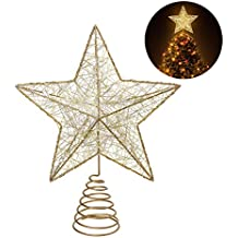 NICEXMAS Christmas Tree Topper LED Star Battery Operated Treetop Decoration (Gold)