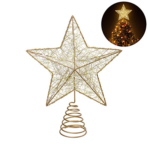 NICEXMAS Christmas Tree Topper LED Star Battery Operated Treetop Decoration (Gold) (Tree Topper Ribbon Angel)