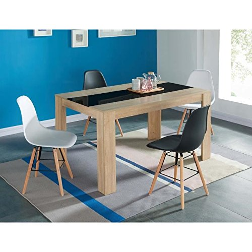 Générique DAMIACHENENOIR Table à Manger, Bois et Noir, L140cm