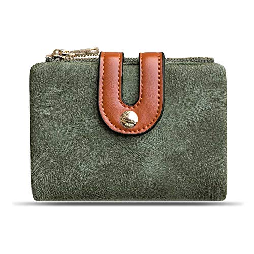 Womens Wallets Small Rfid Ladies Bifold Wallet With Zipper Coin Pocket,Mini Purse Soft Compact Thin (green) ()