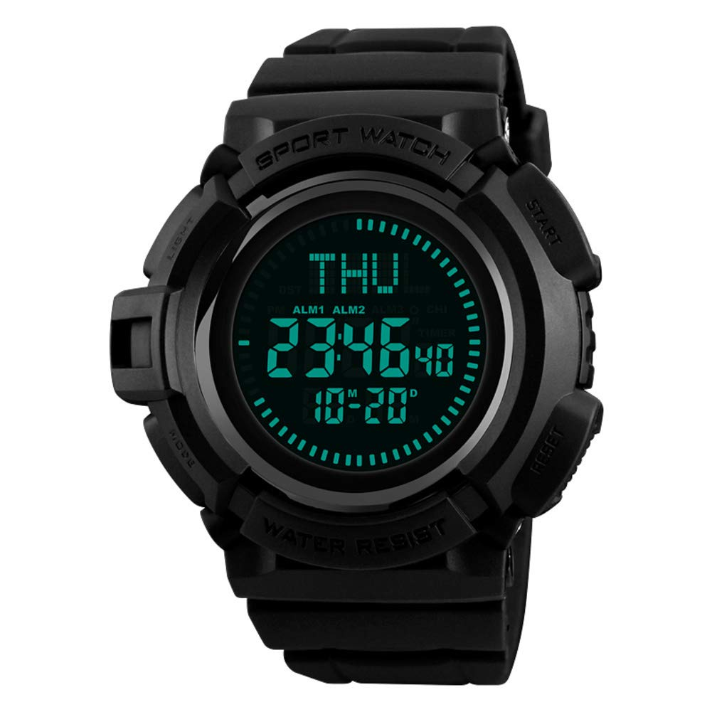 WWGZ Multifunction Compass Electronic Watch,Male Outdoor Mountaineering Running Timing Waterproof Sports Watch-Black by WWGZ