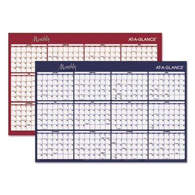 Visual Organizeramp;reg; Write-On/Wipe-Off Horizontal Format Reversible Yearly Wall Planner, 48 x (Dec Write On Calendar)