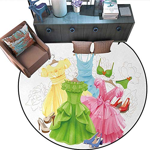 Heels and Dresses Home Decor Circle Area Rug Princess Outfits Bikini Shoes Wardrobe Party Costumes in Girls Design Round Area Rug Carpet (67