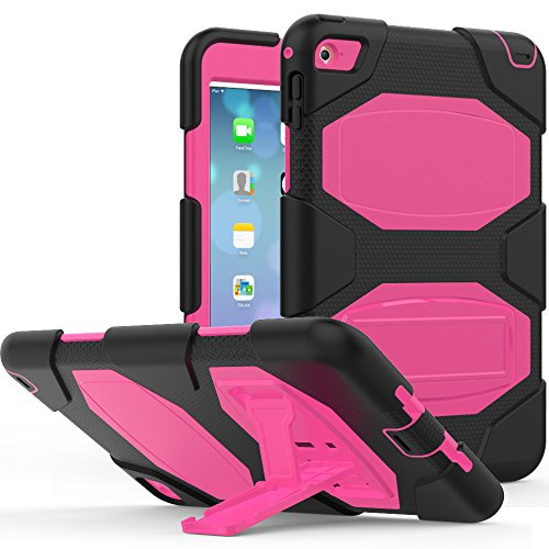 iPad mini 4 Case, ZERMU Heavy Duty Shockproof Rugged Cover Three Layer Hard PC+Silicone Hybrid Impact Resistant Armor Defender Full Body Protective Case With Kickstand for iPad mini 4 2015 Model