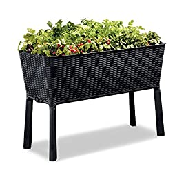 Keter Elevated Garden Bed 2 Dimensions: 44. 9 in. W x 19. 4 in. D x 29. 8 in. H Easy to read water gauge indicates when plants need additional moisture Drainage system that can be opened or closed for full control of watering