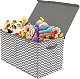 Sorbus Toy Chest with Flip-Top Lid, Kids Collapsible Storage for Nursery, Playroom, Closet, Home Organization, Large (Pattern - Chevron Gray): more info