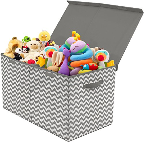 Gray Soft Toy - Sorbus Toy Chest with Flip-Top Lid, Kids Collapsible Storage for Nursery, Playroom, Closet, Home Organization, Large (Pattern - Chevron Gray)