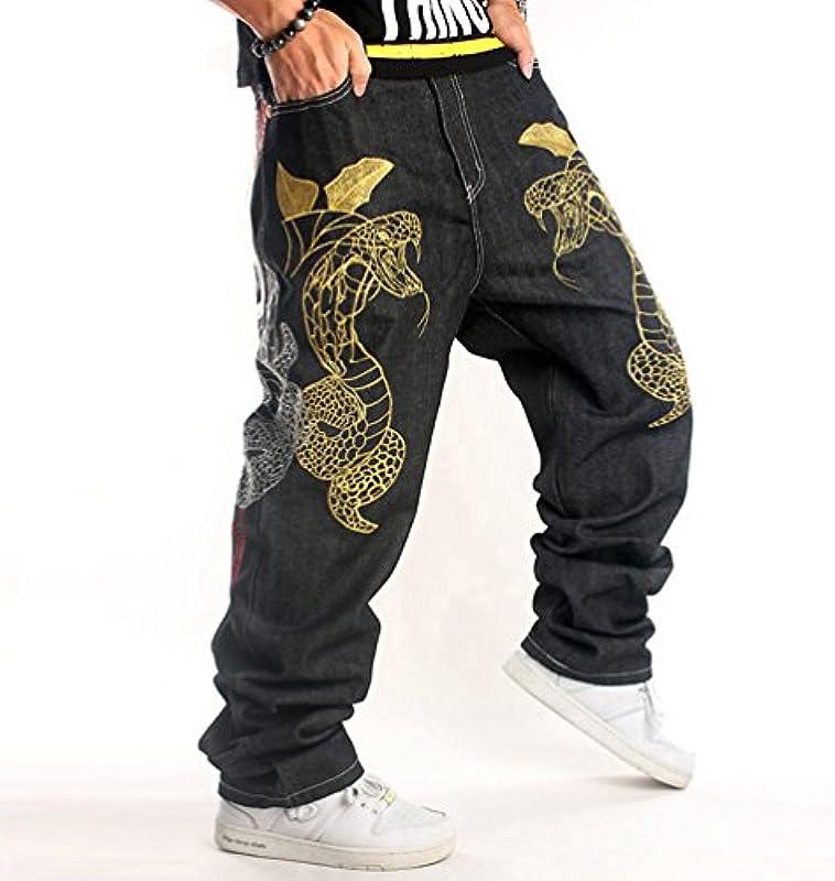Dexinx Męskie urocze spodnie z nadrukiem, dżinsy miejskie, baggy, denim, hip hop, do tańca: Odzież