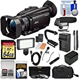Sony Handycam FDR-AX700 4K HD Video Camera Camcorder with 64GB Card + Battery + Case + LED Light + Microphones + Stabilizer + Monopod + Filters + Kit