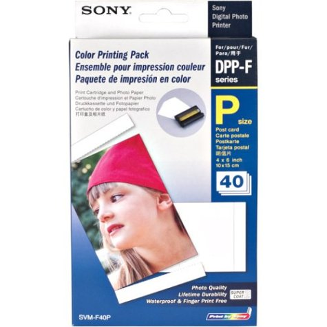Sony Digital Photo Printer - Sony 4 Inch x 6 Inch Printer Paper with Snap-Off Edges, 40 Count (SVMF40P)