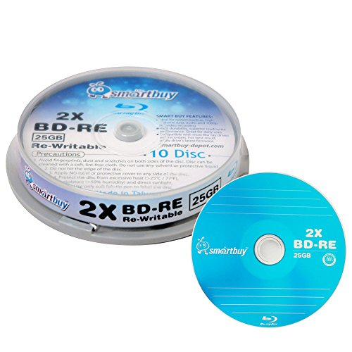 10 Pack Smartbuy 2 x 25GB Blue Blu-ray BD-RE Rewritable Branded Logo Blank Bluray Disc