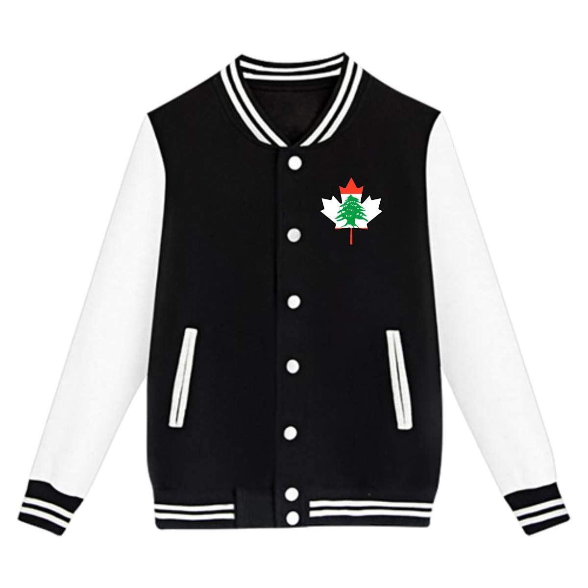 Lebanon Flag Canada Maple Leaf Coat Sweatshirt Outwear Unisex Teen Baseball Uniform Jacket