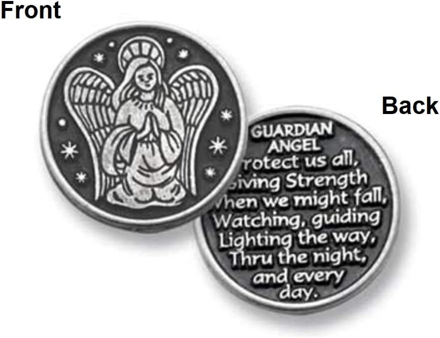 Juego de 12 Monedas de Peltre a Granel con Texto en inglés Guardian Angel, Serenity, with God All Things Are Possible Pocket Token Coins, con Monedas de oración y Palabras Inspiradoras: Amazon.es: