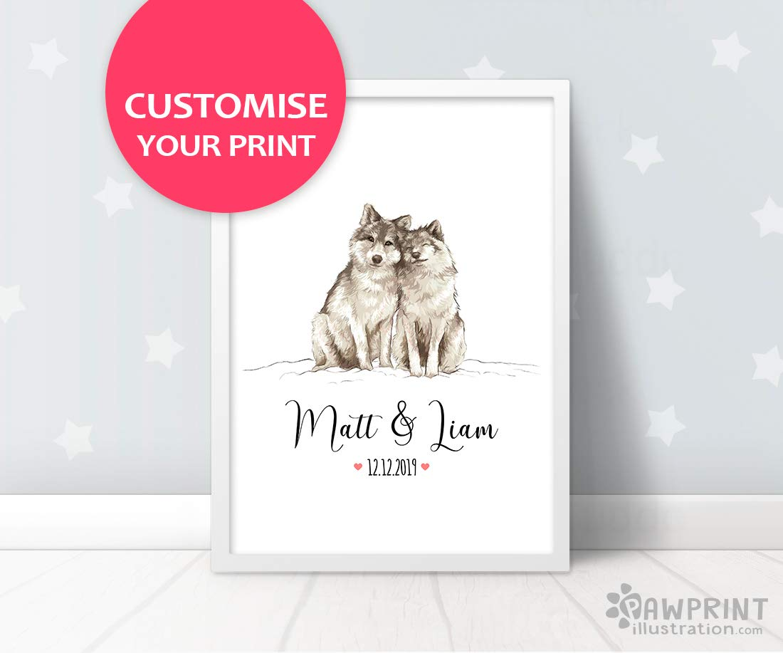 Frame not included Custom Newlywed Gift Wolf Wedding Gift Art Print by Pawprint Illustration