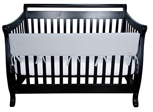 Gray Fleece CribWrap® Wide Rail Cover For Crib Front/Back Great For Teething Babies