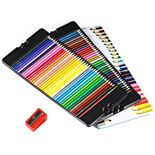 Magicfly 72 Colored Pencils Set Premier Soft Core Watercolor Pencils with 2 Brushes and Metal Tin Case, Bonus Pencil Sharper by Magicfly (Image #5)