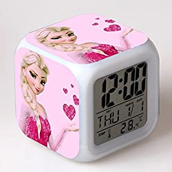 TEKIMBE Frozen Digital Alarm Clock Snow Princess Night Glowing Cube Colorful LED Clock Cute Cartoon Toys for kids Children Birthday Christmas gifts (NO.3)