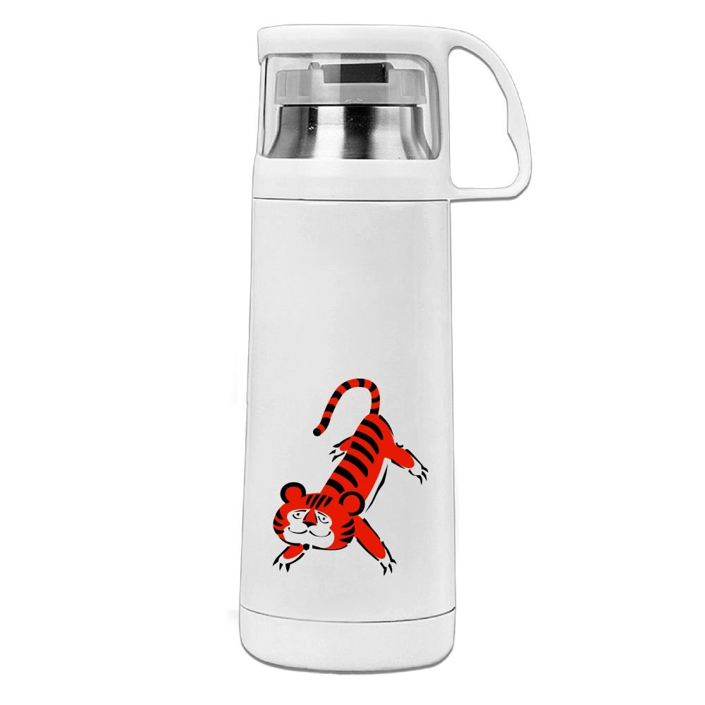 カレンガーデンFunny Tigerステンレス真空断熱ウォーターボトルリークプルーフHandledマグホワイト、12oz B0787BPYZ1