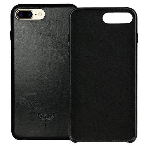 (iPhone 7 Plus Case iPhone 8 Plus Case FRIFUN Genuine Leather Hard Back Case Thin Fit Snap Case Excellent Grip for iPhone 7 Plus/8 Plus 5.5 inch (Black))