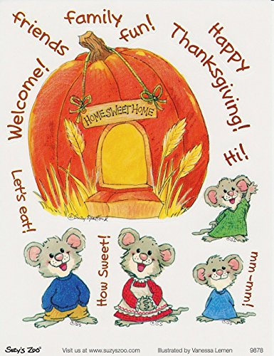(Suzy's Zoo Mouse Family Thanksgiving Sticker 6 inches by 4.5 inches)