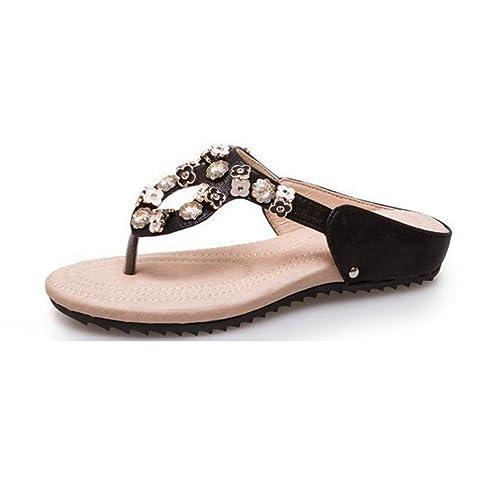 8831b1d76527 Sandalias Planas de Moda Mujer Sandalias Bohemian Comfort Plataforma  Tachonado Playa Brillante Verano Tanga  Amazon.es  Zapatos y complementos