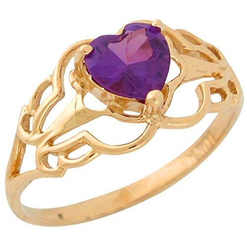 Jewelry Liquidation 10k Yellow Gold Simulated Alexandrite Heart Ladies Filigree June Birthstone Ring (Alexandrite 10k Gold Ring)