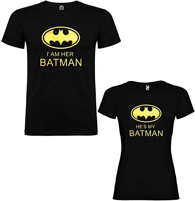 Pack de 2 Camisetas Negras para Parejas, Iam Her Batman y Hes my ...
