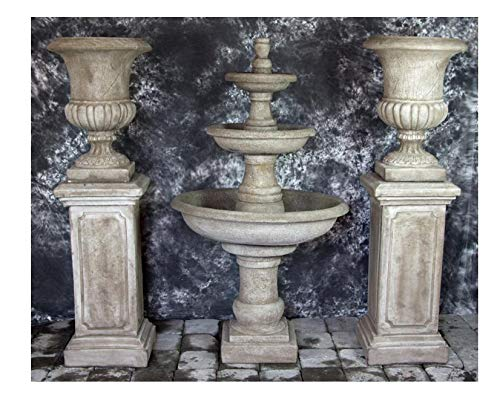 Fleur de Lis Garden Ornaments LLC Three Tier Renaissance Fountain with Pompeii Pedestals and Italian Palazzo Urns Package Number 1027 ()