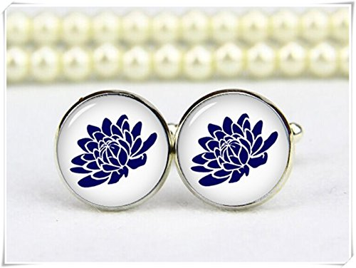 Beautiful Dandelion blue lotus flower cuff links, lotus cufflinks, OM (Lotus Cufflinks)