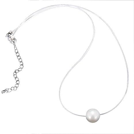 f965294a0674 Kanggest.Collar Invisible Colgante de Perlas para Mujer Niña ...