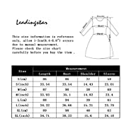 Leadingstar Women Long Sleeve V-Neck Elastic Waist Wrap Solid Fit and Flare Mini Dress