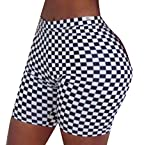 WSPLYSPJY Womens Checkerboard Printed Bodycon Short Pant Yoga Short 1 L