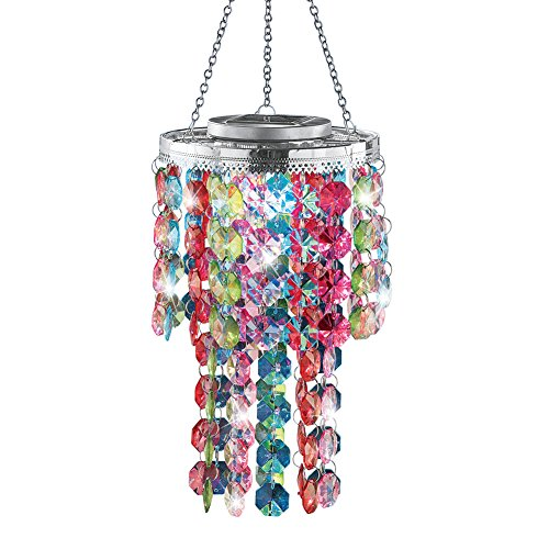 Collections Etc Colorful Solar-Powered Backyard Chandelier
