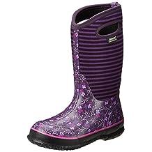 Bogs Kids Classic Flower Stripe Waterproof Winter & Rain Boot (Toddler/Little Kid/Big Kid)